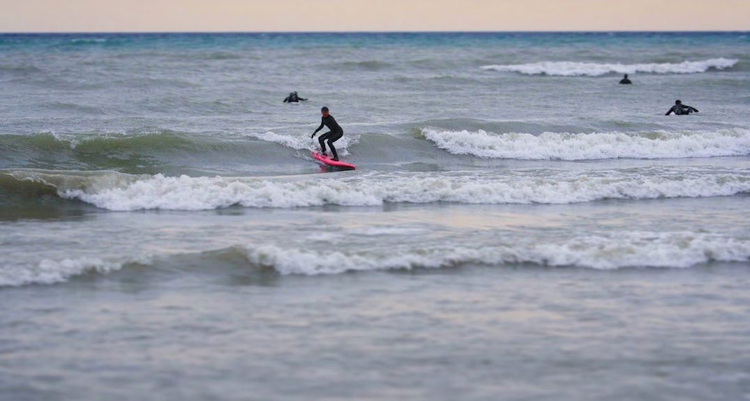 The women surfing Ontario's Great Lakes in freezing temperatures