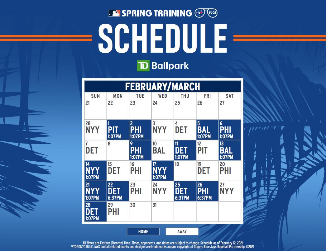 blue jays 2021 spring training schedule