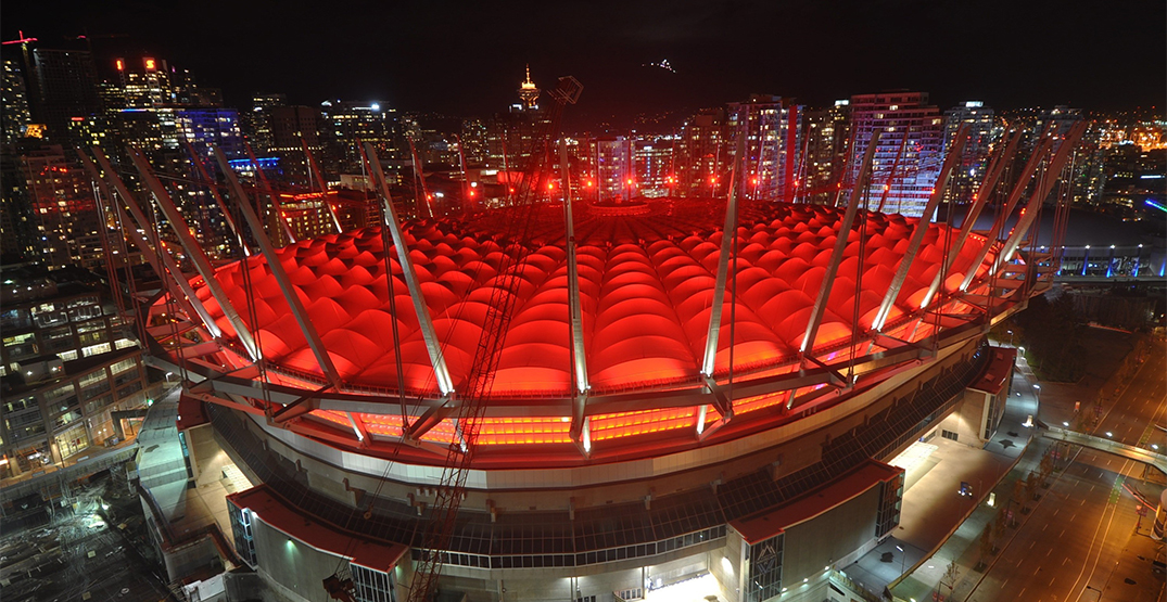 Vancouver's BC Place lights up red for Lunar New Year