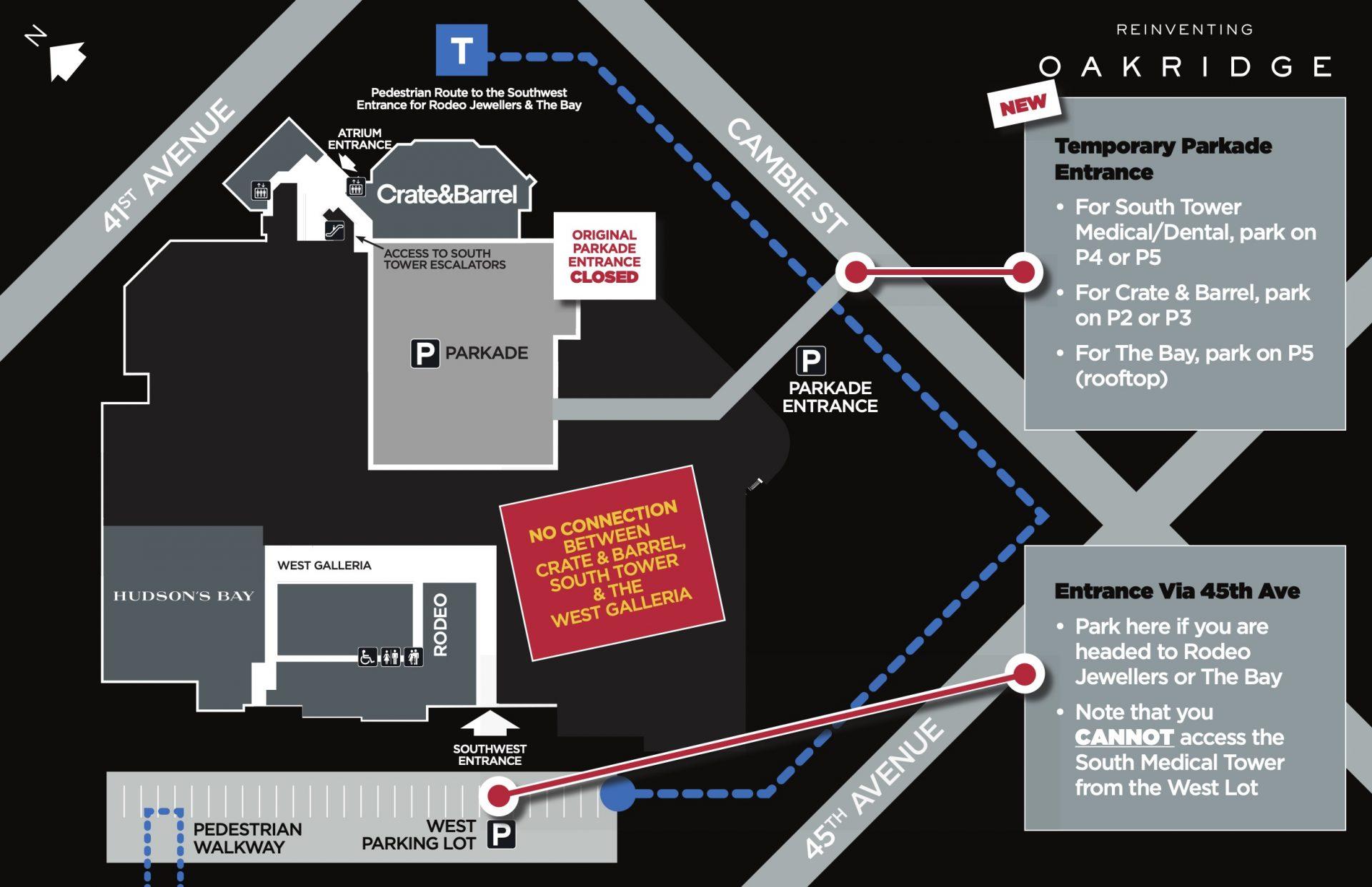 oakridge centre construction map february 2021