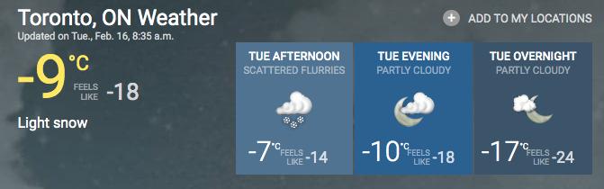 toronto extreme cold weather