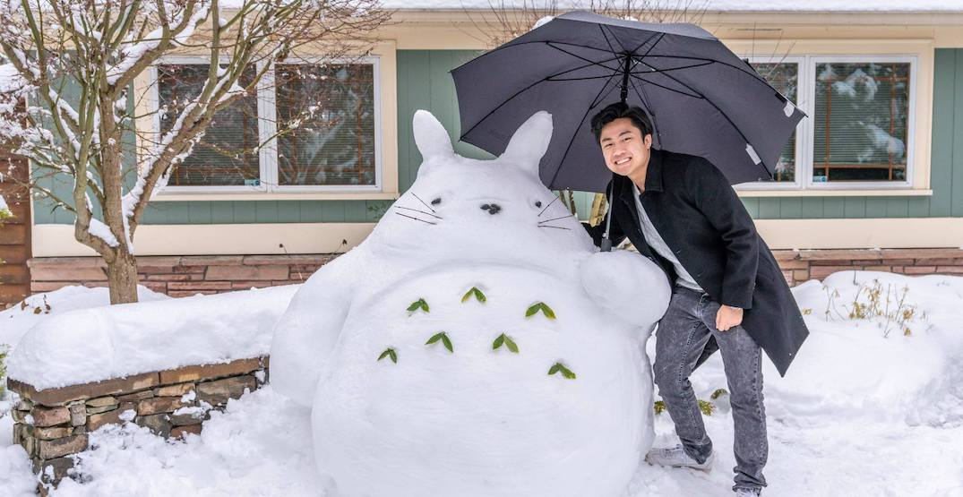 Someone built a giant Totoro in the snow this week in Seattle
