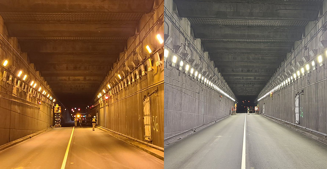 New bright LED lighting installed in George Massey Tunnel to improve safety