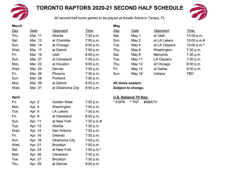 Raptors 2020-21 second half schedule