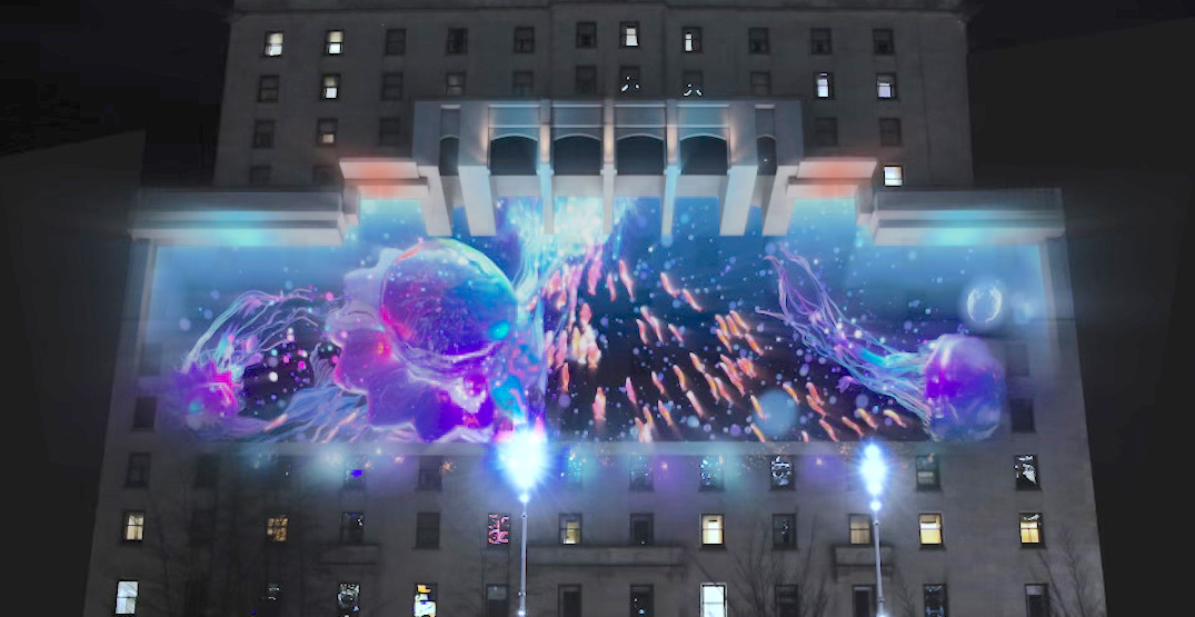 bright downtown vancouver projection mapping