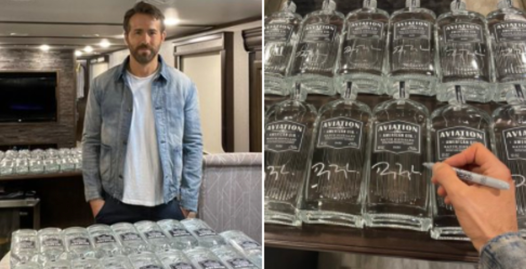 Ryan Reynolds sending signed Aviation Gin bottles to Ontario and BC