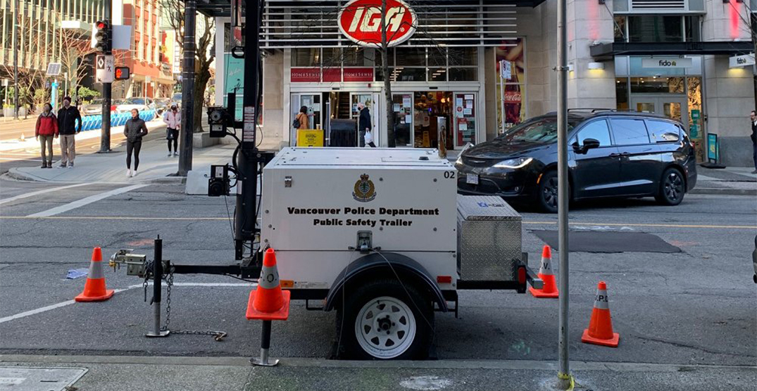 Surveillance trailer placed in downtown Vancouver after string of violent crime