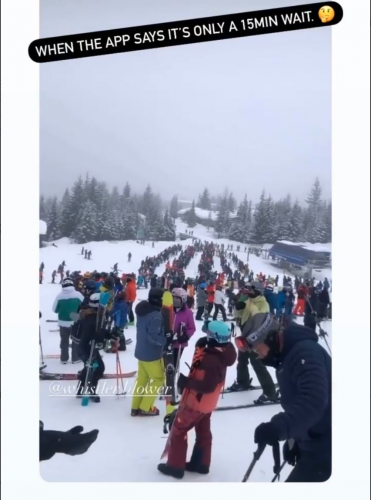 A snapshot of lineups on Whistler Blackcomb posted to a Whistler locals Facebook group.