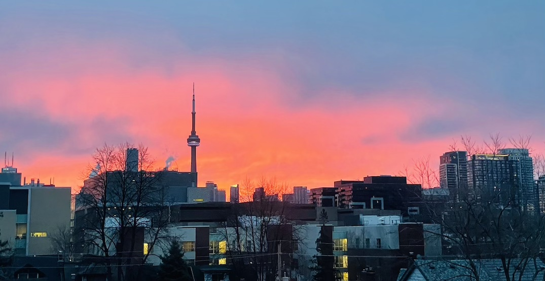 Sign of Spring: A dewy-orange sunrise briefly took over Toronto this morning (PHOTOS)