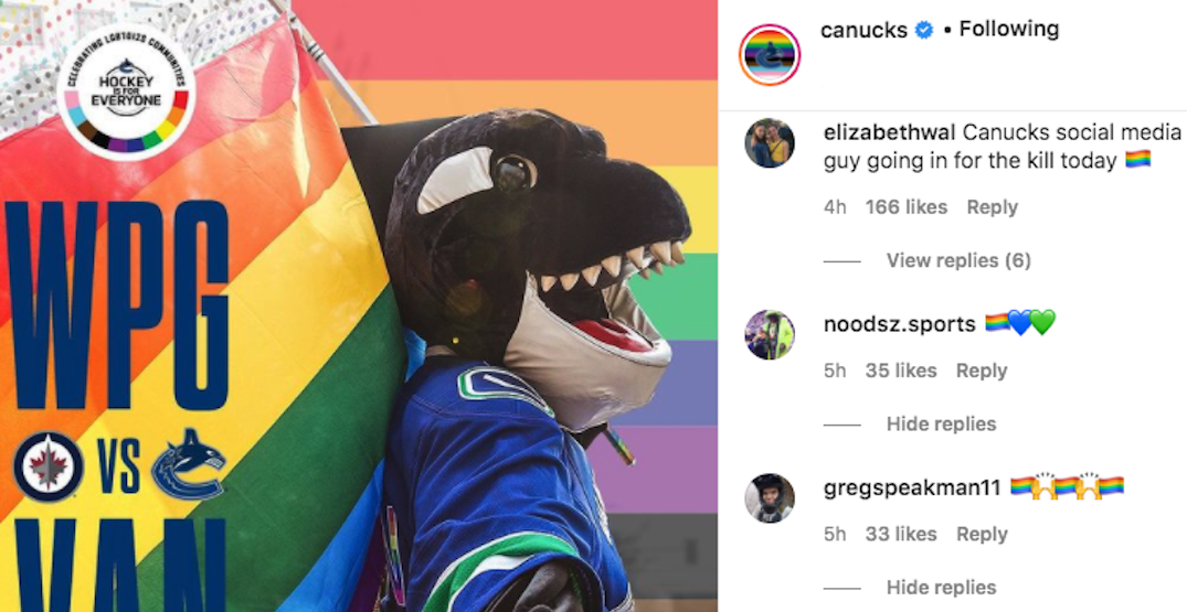 Canucks clap back at anti-Pride IG comments in the classiest way possible