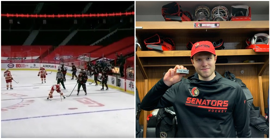 Flames try to steal rookie goalie's puck and Sens fans are pissed (VIDEO)