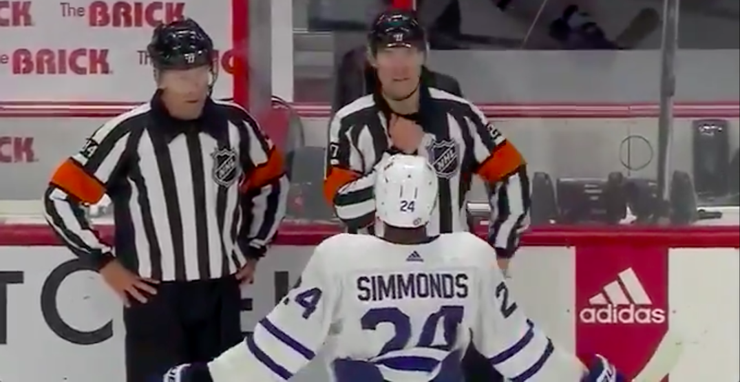 Referee covers mic just in case after controversial non-call on Leafs (VIDEO)