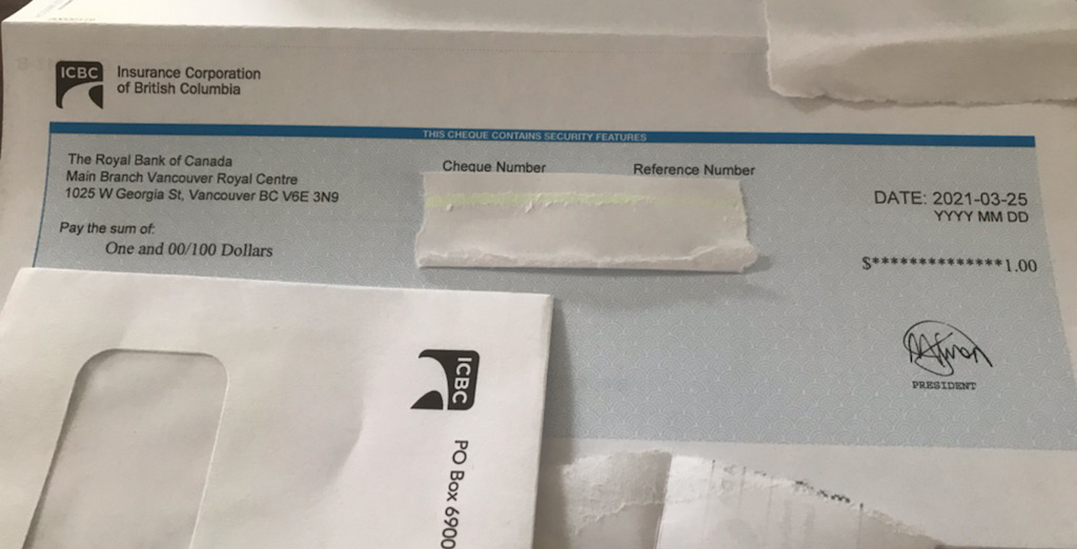 """""""That's ridiculous"""": ICBC customer receives $1 rebate cheque"""