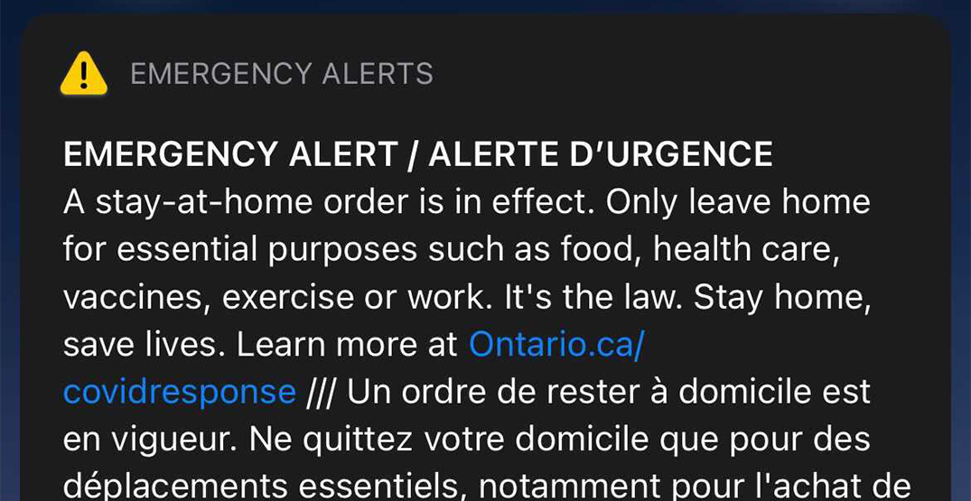 Ontarians just got an emergency alert about the Stay-at-Home order