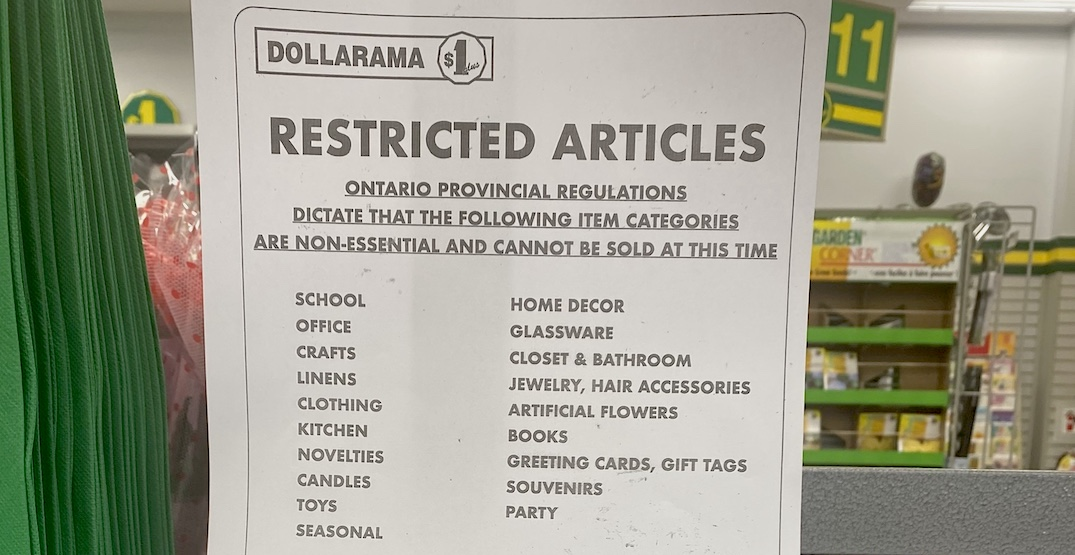 Dollarama called out for blocking off non-essential supplies in Ontario