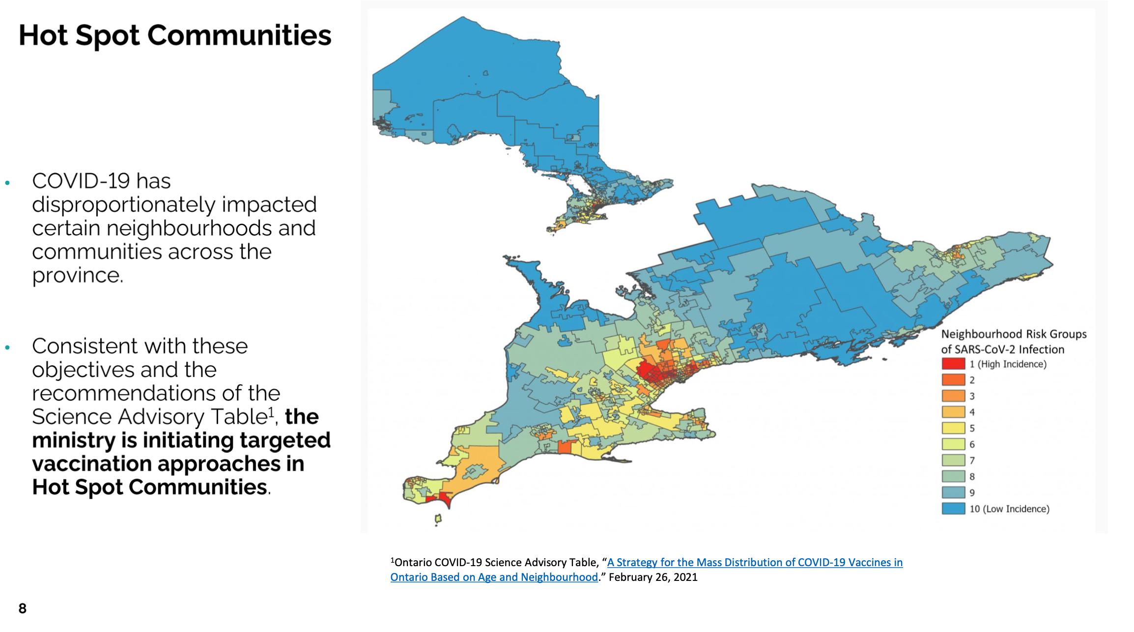 Ontario hotspot map