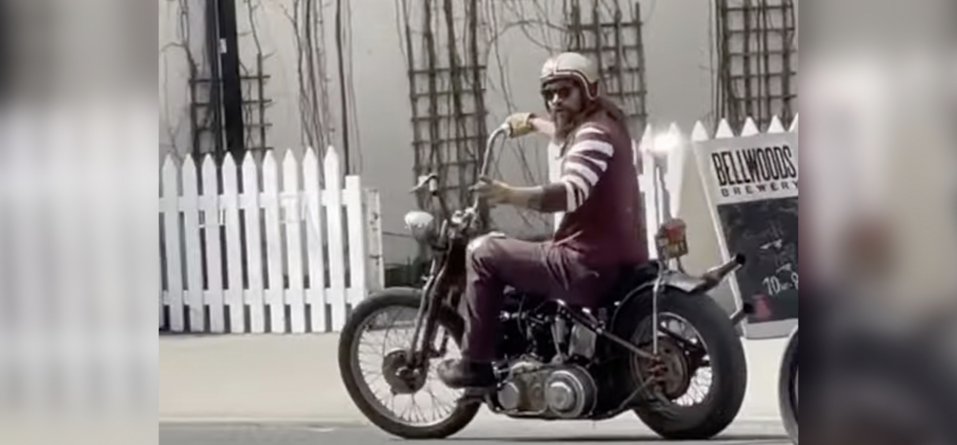 Jason Momoa spotted on his motorcycle on Ossington (VIDEO)
