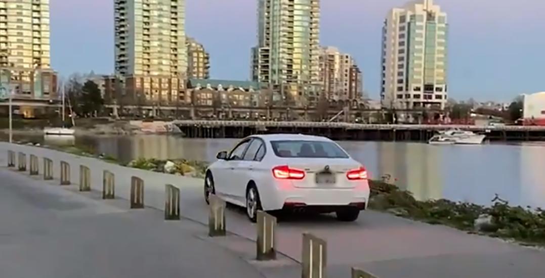 Car filmed driving down seawall in False Creek (VIDEO)