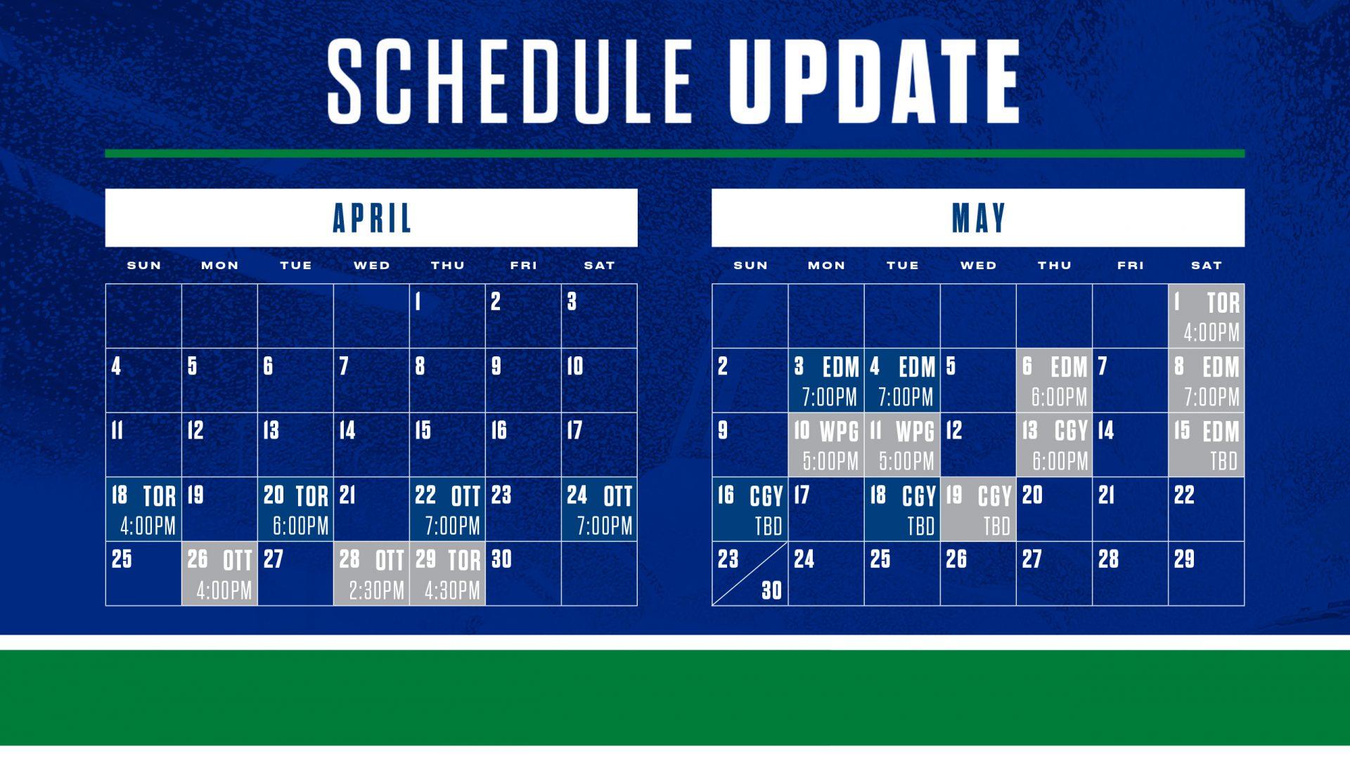 canucks schedule updated