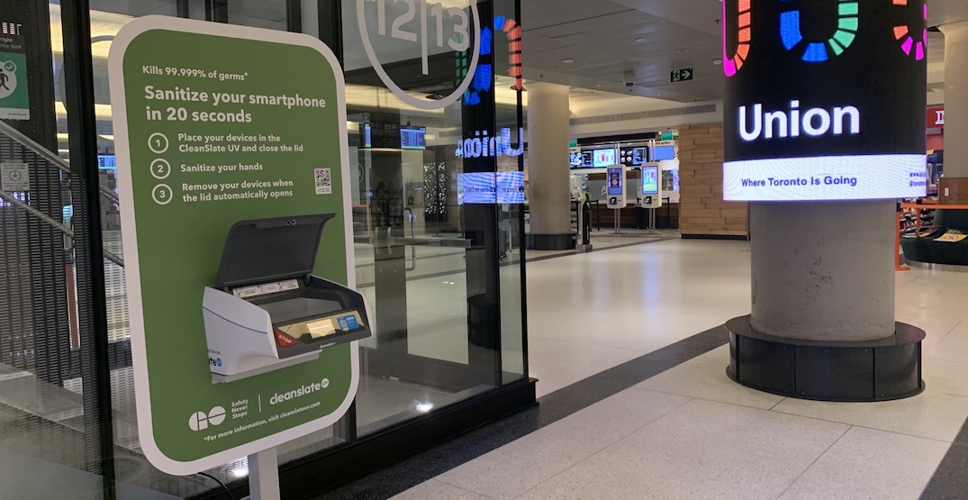 GO Train stations now have UV light boxes to sanitize your phone