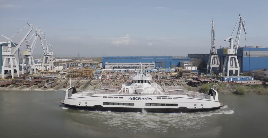 BC Ferries' sixth battery-electric hybrid vessel launches into water (VIDEO)