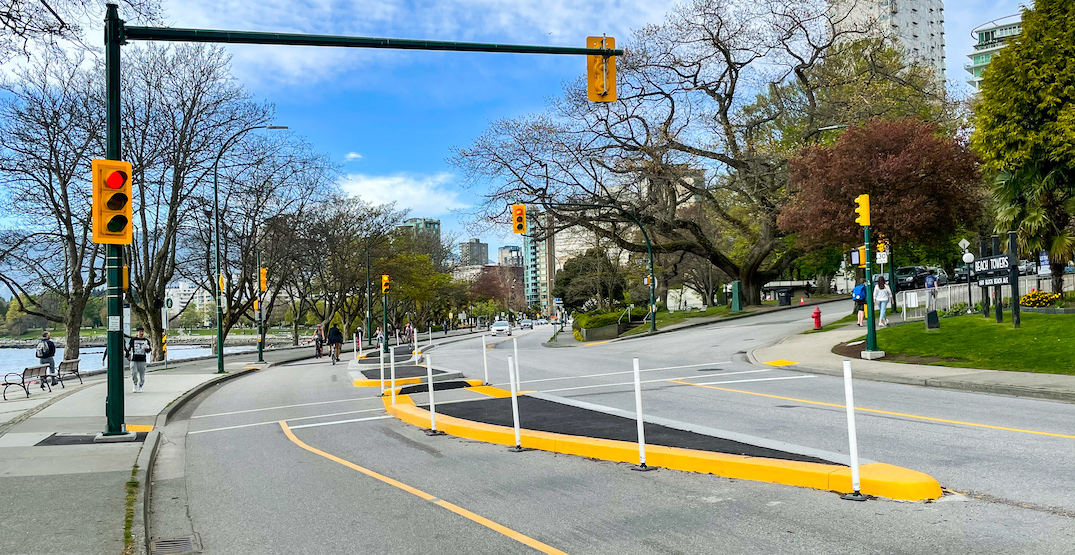 Beach Avenue eastbound roadway reopens with new fixed bike lane