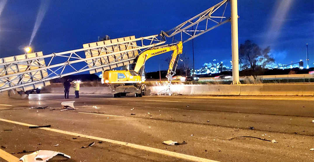 Toronto driver killed by falling highway sign on QEW