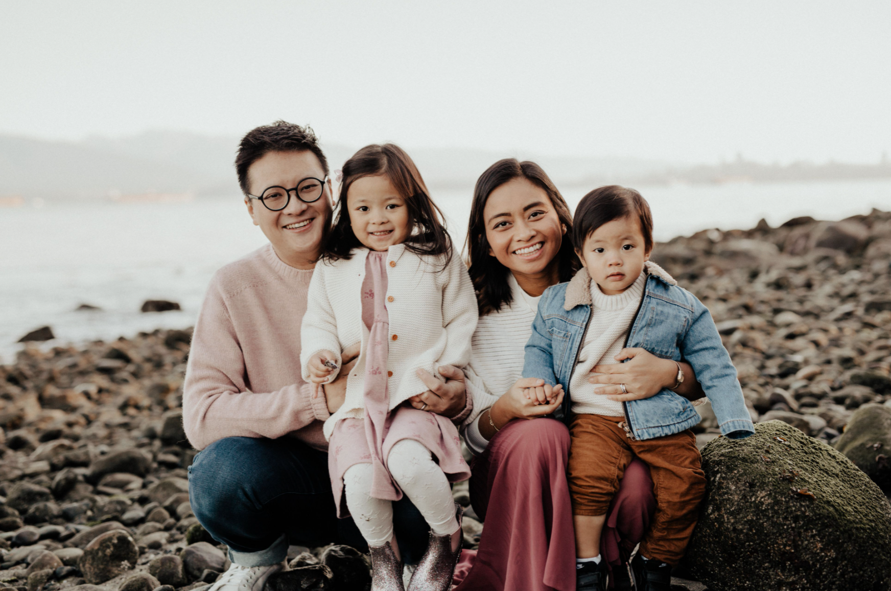 Justin Cheung of Potluck Hawker Eatery with wife Rachel and kiddos / Hayley Ng