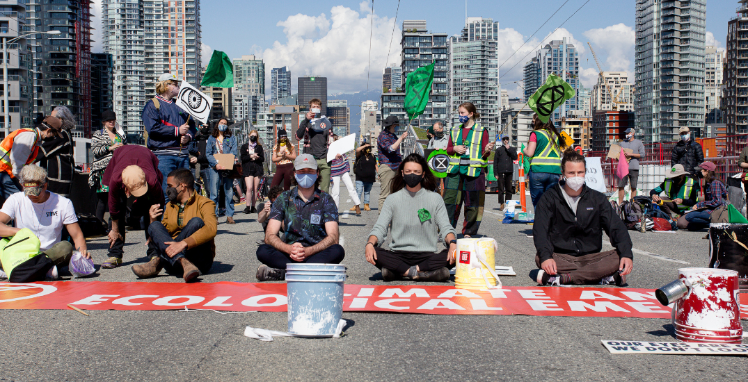 Eight people arrested after climate protesters block Granville Street Bridge