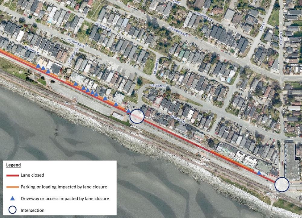 white rock marine drive westbound lane closure option