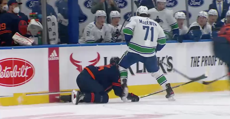NHL suspends Canucks' MacEwen for kneeing Oilers' Nurse