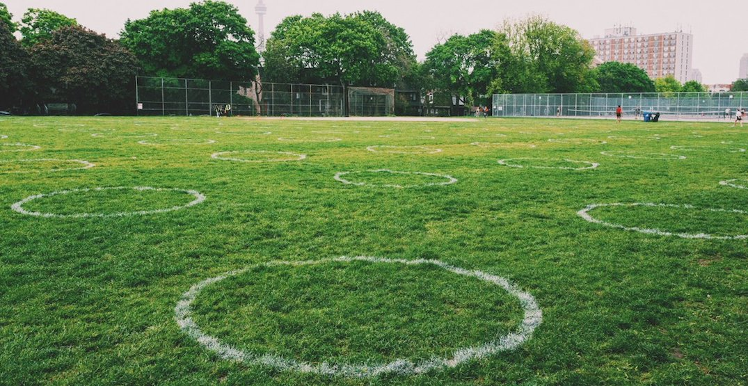 Physical distancing circles are officially back at Trinity Bellwoods