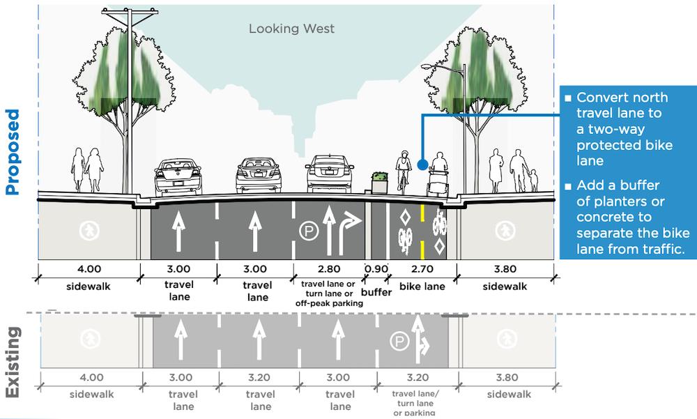 smithe street bike lane richards hornby