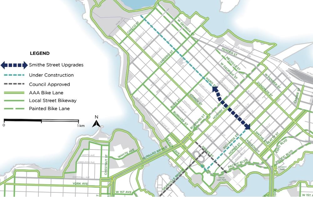 smithe street bike lane route