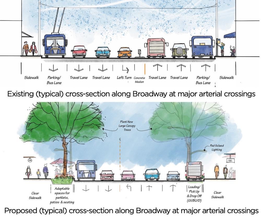 broadway subway road design changes