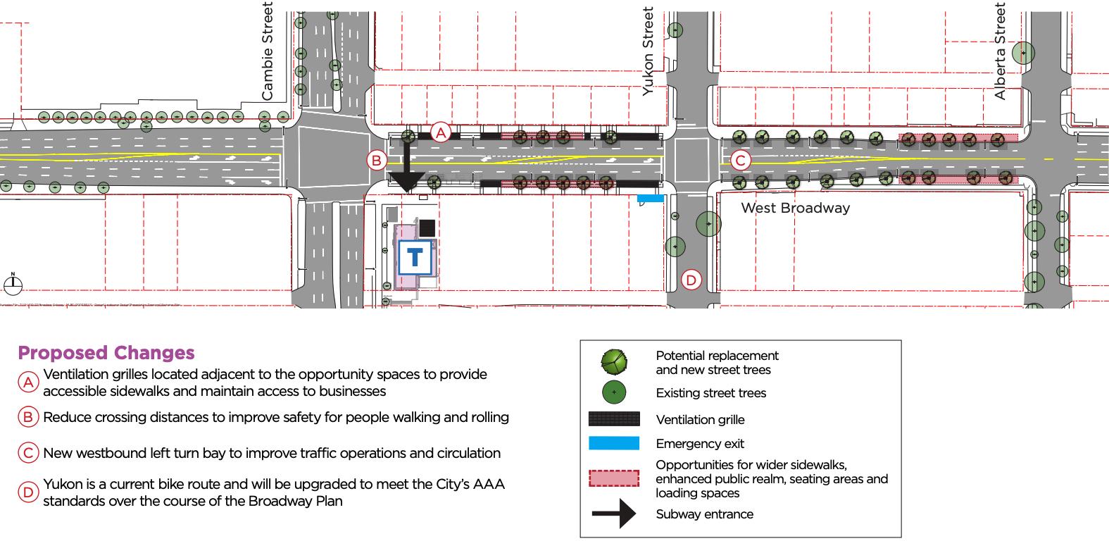 broadway-city hall station broadway road design