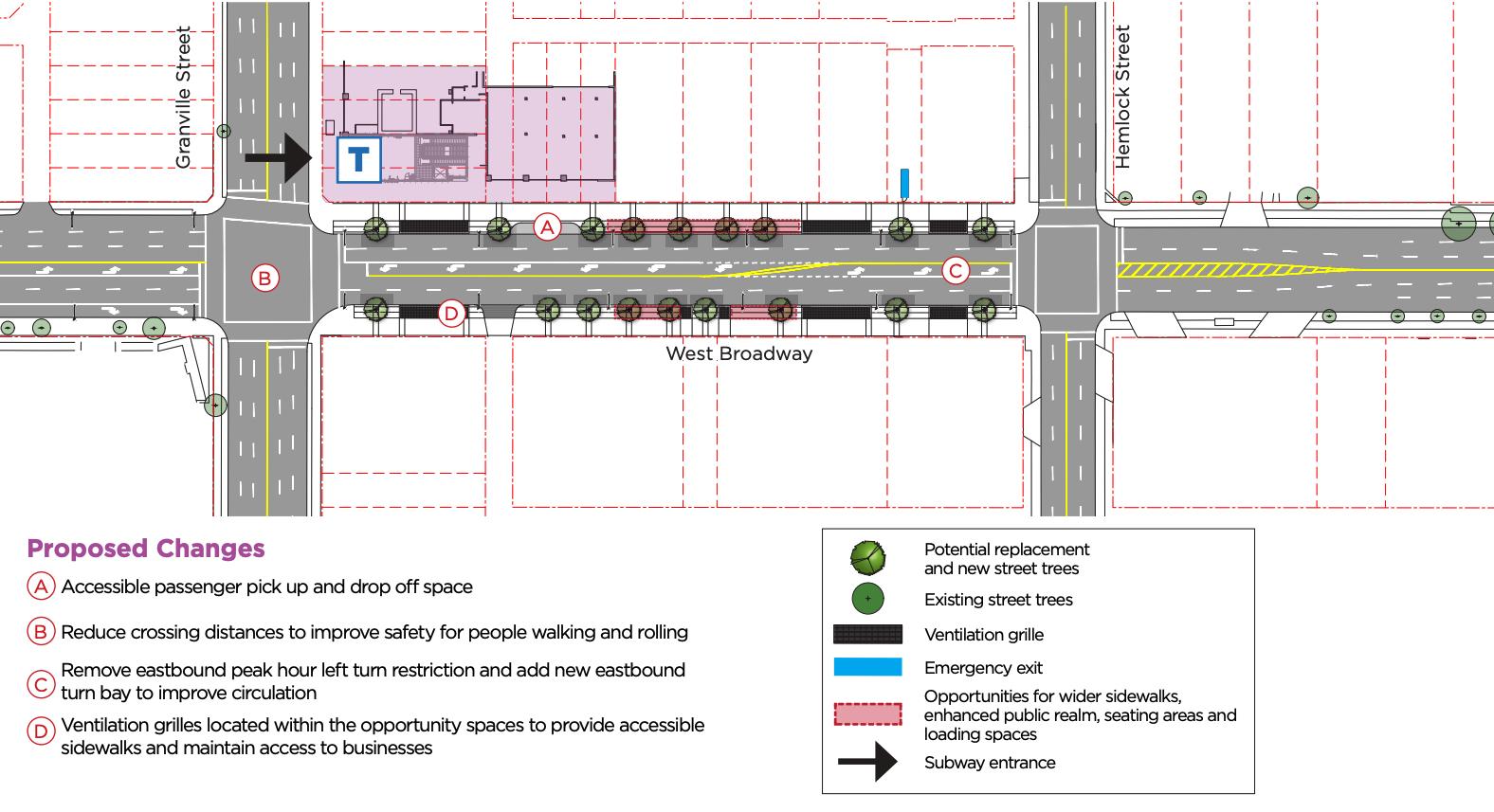 south granville station broadway road design