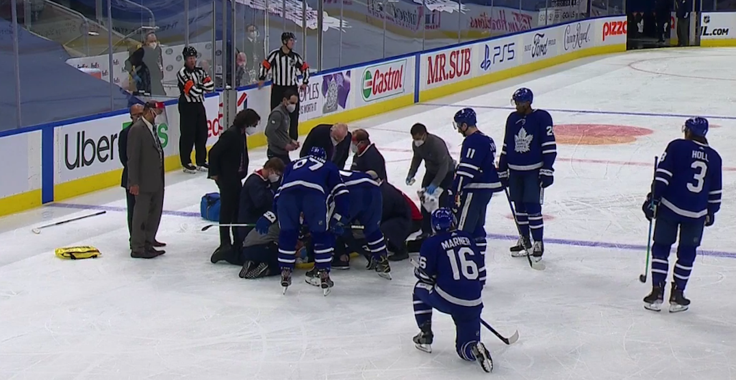 Leafs captain Tavares stretchered off ice after scary collision