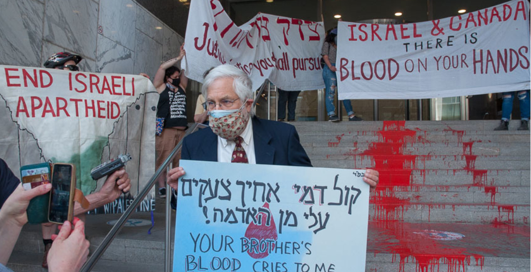 Man charged after protestors paint steps of Toronto's Israeli Consulate red
