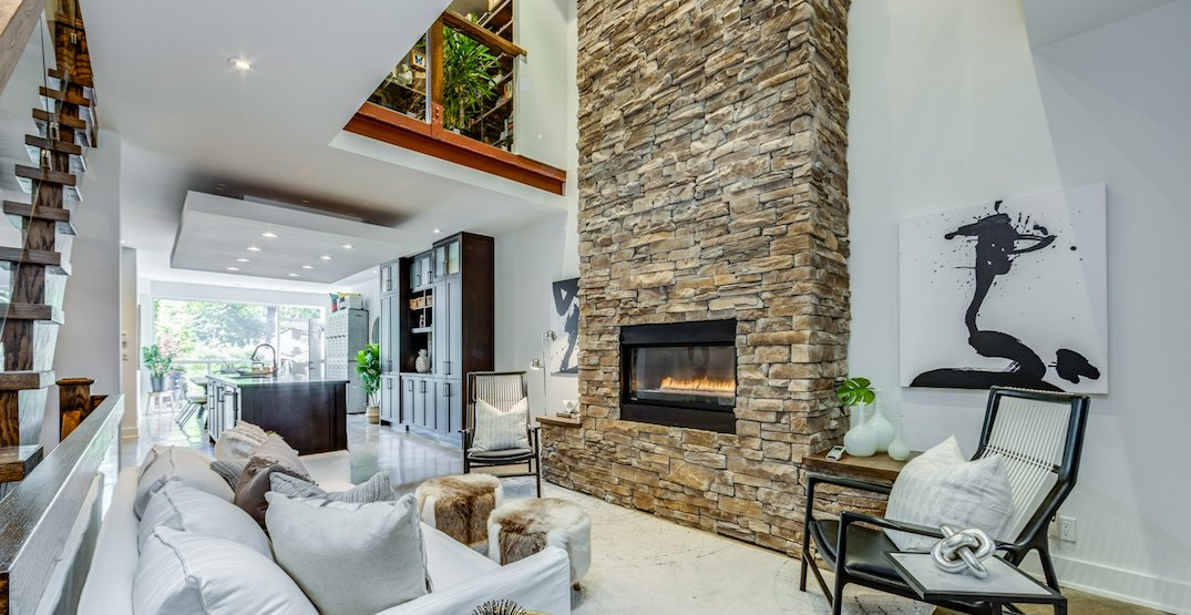 This Toronto home has two rooftop patios and a two-storey fireplace