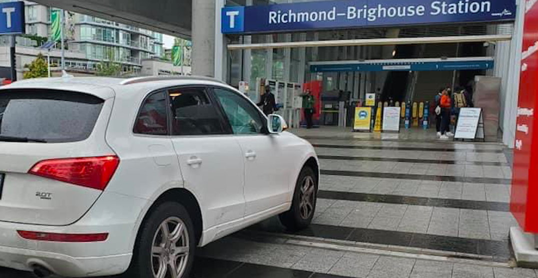 Driver ticketed after entering pedestrian-only area at Canada Line station in Richmond