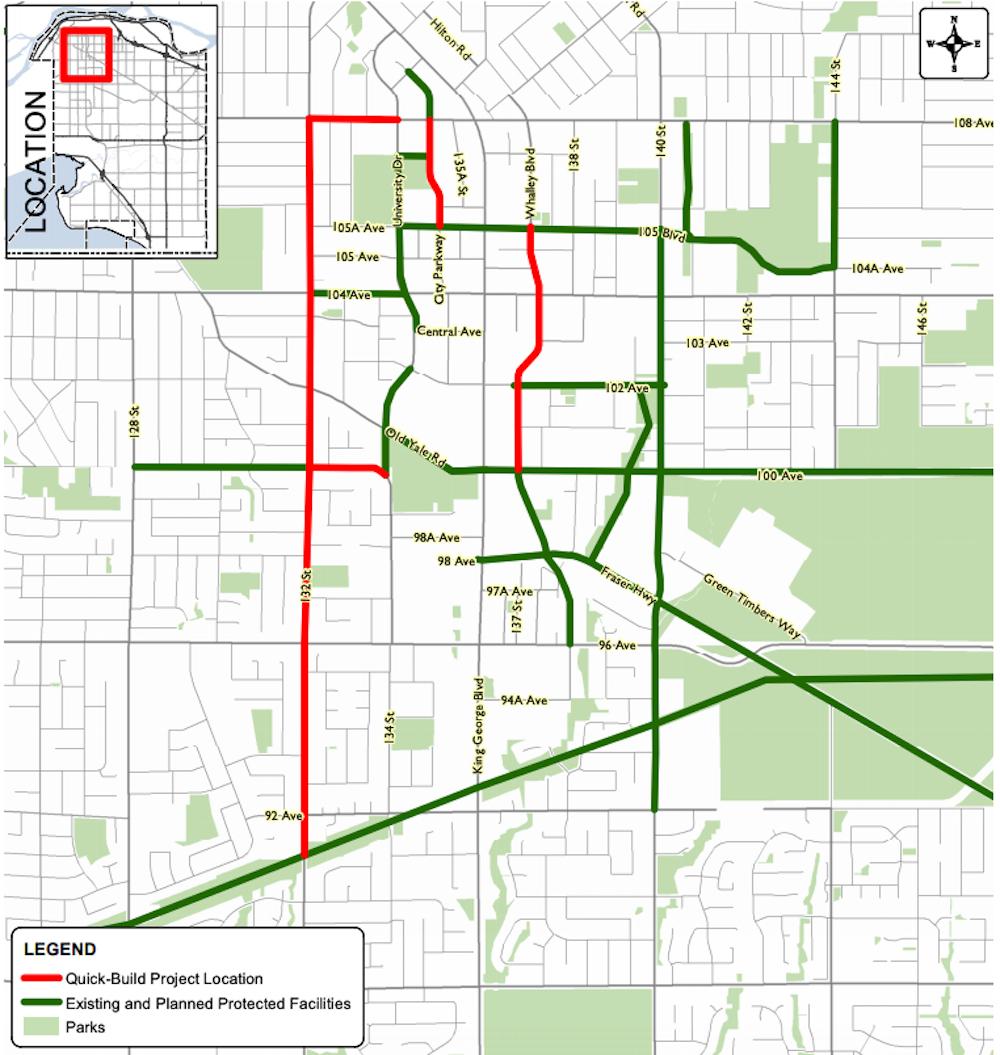 surrey bike lane map 2021
