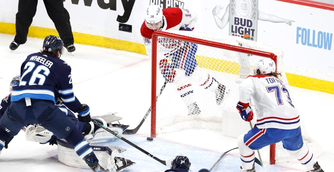 Suzuki's highlight-reel goal helps Canadiens top Jets in Game 1