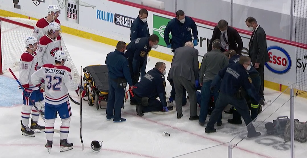 Canadiens playoff win overshadowed by scary injury to Jake Evans
