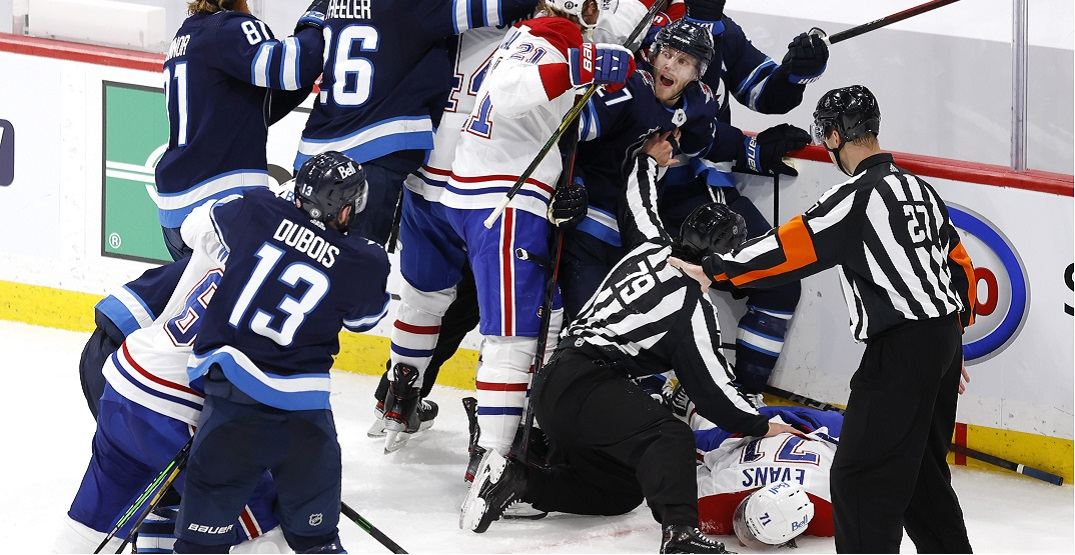 Fans praise Ehlers for protecting Evans as Habs and Jets players fight