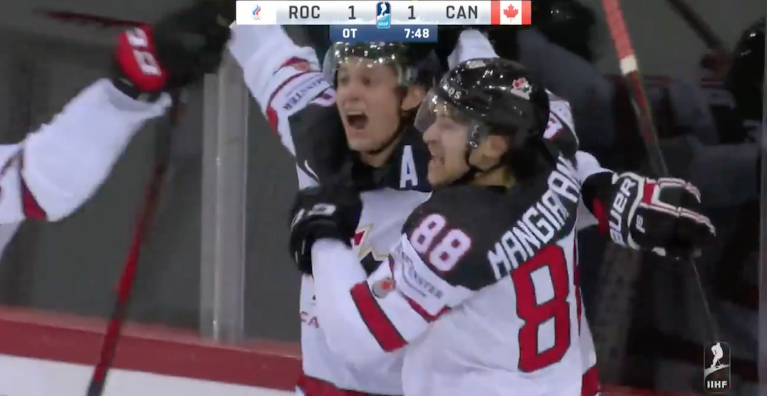 Stecher and Mangiapane combine for spectacular OT winner for Canada at World Championships (VIDEO)