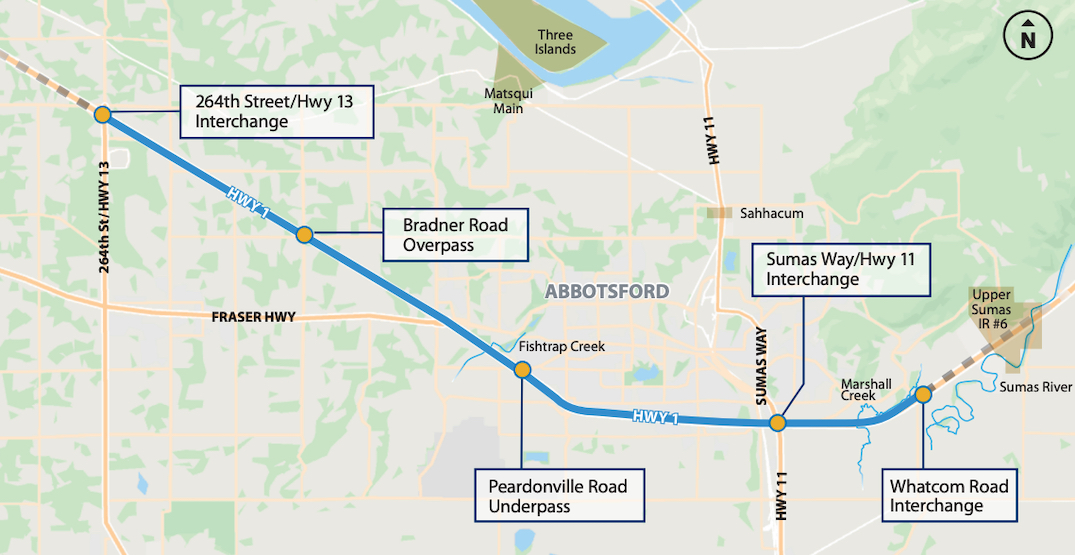 Public feedback sought on widening 22 km of Highway 1 to Abbotsford