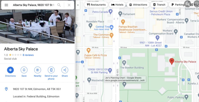 "Alberta government's ""Sky Palace"" made it onto Google Maps"