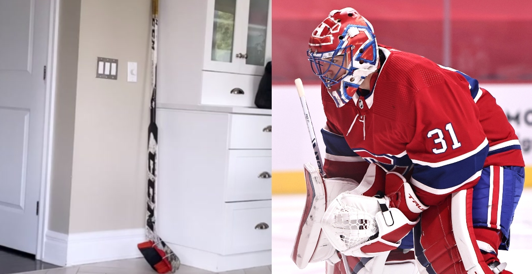 Canadiens fan drops off custom goalie-stick-broom at Carey Price's house