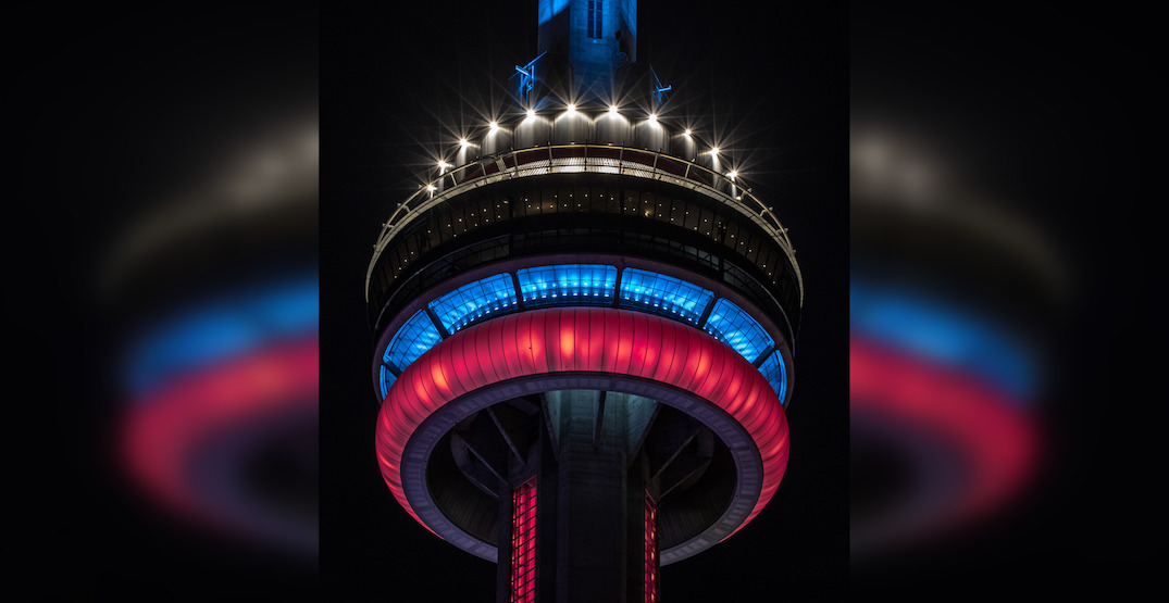 CN Tower lighting up in Montreal Canadiens colours tonight